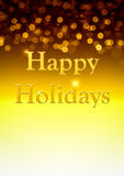 Golden Happy Holidays Background Royalty Free Stock Photography