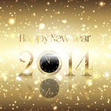 Golden Happy New Year background. With a clock design Royalty Free Stock Photos