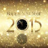Golden Happy New Year background. With a clock design Stock Photo