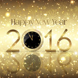 Golden Happy New Year background with clock design Royalty Free Stock Images