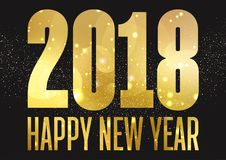 Golden Happy New Year background. With bokeh lights and sparkles Royalty Free Stock Photos