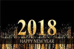 Golden happy new year 2018 background Royalty Free Stock Images