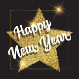Golden Happy New Year background. Happy New Year background with gold glittery star stock illustration