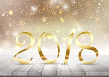 Golden Happy New Year background. Happy New Year background with golden numbers on a wooden table Royalty Free Stock Photo