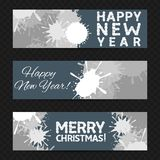 Happy New Year banners. Golden Happy New Year banner set. Vector illustration Royalty Free Stock Photo