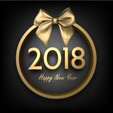 Golden 2018 happy New Year card. Gold 2018 New Year card with satin bow on grey background. Vector illustration Royalty Free Stock Image