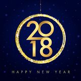 2018 golden happy new year card. 2018 vector gold numbers with xmas ball and text Happy New Year on navy blue background for seasonal greetings card or Christmas Stock Photos