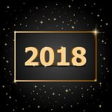 Golden 2018 Happy New Year with dark background Royalty Free Stock Image