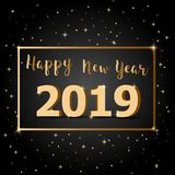 Golden Happy New Year 2019 with dark background. Stock vector royalty free illustration
