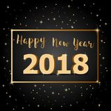 Golden Happy New Year 2018 with dark background Stock Images