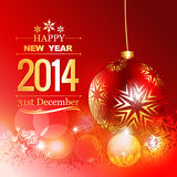 Golden happy new year design. Shiny golden happy new year greeting card with christmas ball Royalty Free Stock Image