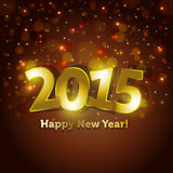 Golden 2015 Happy New Year greeting card with spar. King spot lights background sample Stock Images