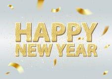 Golden Happy New Year Inscription Background stock illustration
