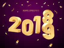 Golden 2019-2018 happy new year and merry christmas. 2018-2019 change represents the new year and merry christmas. Happy holiday and x-mas eve celebration stock illustration