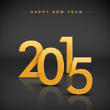 Golden 2015 happy new year. Over black background Royalty Free Stock Photography