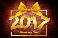 2017 golden happy New year text  on red grunge backgroun. D Stock Photography