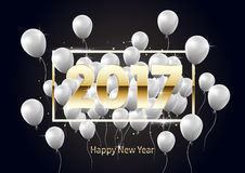 Golden Happy New Year 2017 with white balloons,  illustration Royalty Free Stock Photography