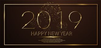 Golden Happy new year 2019 and yellow spot light with glitter on black color. Background stock illustration