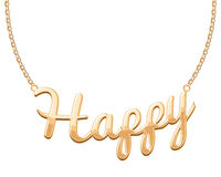 Golden HAPPY word pendant on chain necklace Stock Image