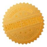 Golden HARDWARE ENGINEERING Award Stamp. HARDWARE ENGINEERING gold stamp badge. Vector gold award with HARDWARE ENGINEERING text. Text labels are placed between royalty free illustration