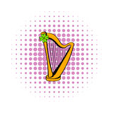 Golden harp and clover icon, comics style Royalty Free Stock Photo