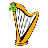 Golden harp and clover icon, icon cartoon Royalty Free Stock Image
