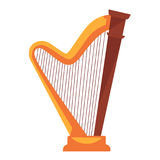 Golden harp with wooden detail isolated flat illustration. Big golden metal harp with main wooden detail and wavy part on small pedestal flat vector illustration Stock Photography