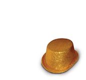 Golden hat. Still life of a golden hat on white background stock image