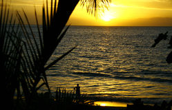 Golden Hawaiian Sunset. Over The Blue Royalty Free Stock Photography
