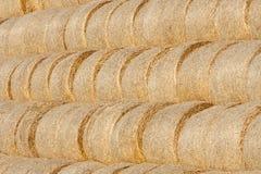 Golden hay bale collected Stock Photos