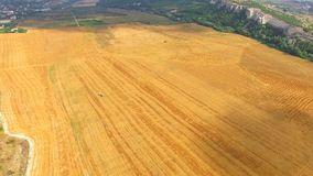 Golden Hay Bales On Harvested Field stock video