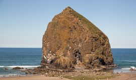 Golden Haystack Rock Stock Image