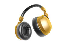 Golden headphone. Isolated on white background Royalty Free Stock Photography