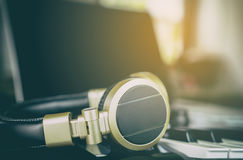 Golden Headphone in Music Station Royalty Free Stock Images