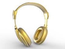 Golden headphones Royalty Free Stock Photography