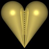 Golden Heart 002. Golden metal Heart Royalty Free Stock Images
