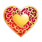 Golden heart. Valentine's Day card Stock Photo