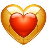 Golden heart. Vector Golden jewelry in the shape of heart Stock Photo