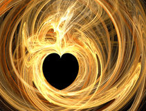 Golden heart. Valentines abstract heart shape, golden swirl over black Stock Photos