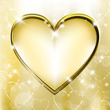 Golden heart. Golden background with shiny and sparkling heart shapes Royalty Free Stock Image