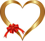 Golden heart. Isolated golden heart with red ribbon and bow Stock Photos