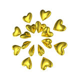 Golden Heart 3D Love Shapes Royalty Free Stock Photo