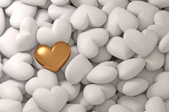 Golden heart on a background of white hearts. Beautiful festive background for Valentine`s day. Concept of love, dating, marriage. Royalty Free Stock Image