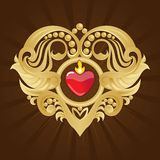 Golden Heart and Banner on Red Halftone Royalty Free Stock Photo