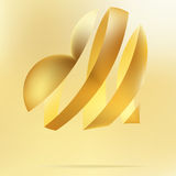 Golden heart on a beidge background. + EPS8 Stock Image