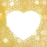 Golden Heart bokeh frame with copy space. EPS 8 Royalty Free Stock Photo