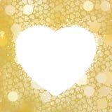 Golden Heart bokeh frame with copy space. EPS 8 vector illustration