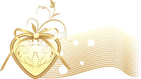 Golden heart with bow. Decorative banner Royalty Free Stock Photo