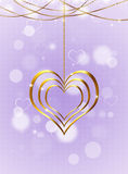 Golden Heart On Bright Background Royalty Free Stock Image