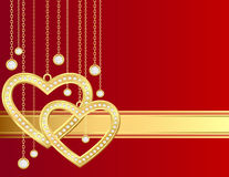 Golden heart and brilliants. Card with golden heart and brilliants on a red background Royalty Free Stock Image